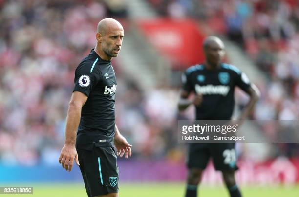 West Ham United's Pablo Zabaleta during the Premier League match between Southampton and West Ham United at St Mary's Stadium on August 19 2017 in...