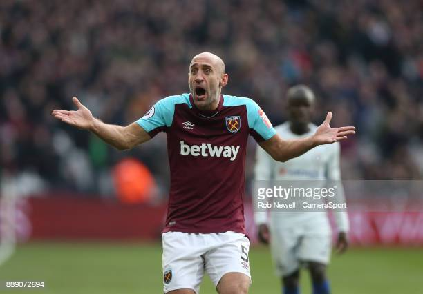 West Ham United's Pablo Zabaleta during the Premier League match between West Ham United and Chelsea at London Stadium on December 9 2017 in London...
