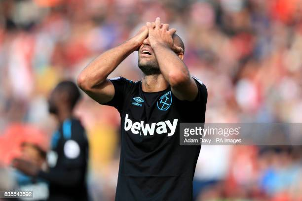 West Ham United's Pablo Zabaleta reacts after conceding a late penalty