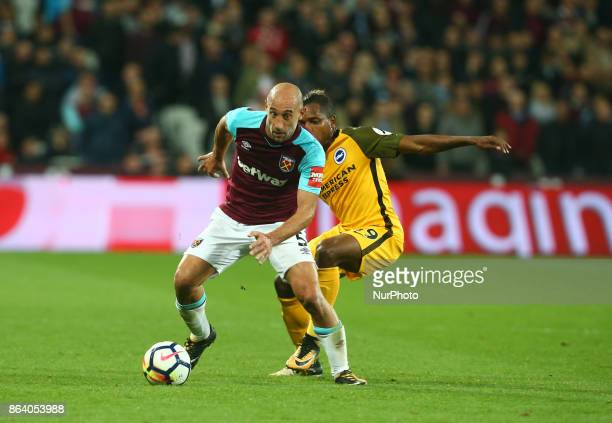 West Ham United's Pablo Zabaleta takes on Brighton amp Hove Albion's Gaetan Bong during Premier League match between West Ham United against Brighton...