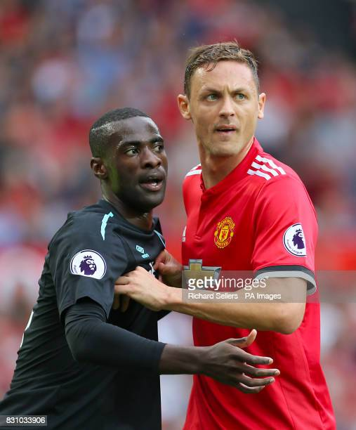 West Ham United's Pedro Obiang and Manchester United's Nemanja Matic during the Premier League match at Old Trafford Manchester