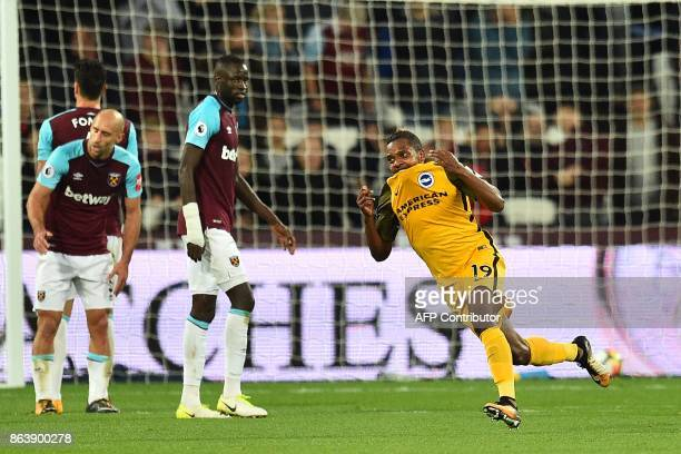 West Ham United's Portuguese defender Jose Fonte West Ham United's Argentinian defender Pablo Zabaleta and West Ham United's Senegalese midfielder...