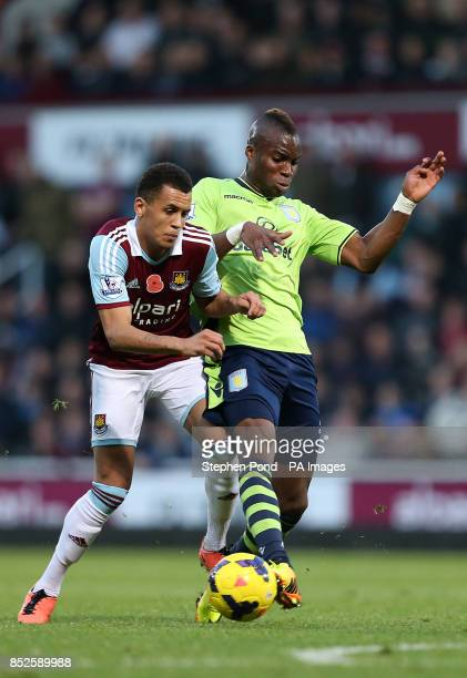 West Ham United's Ravel Morrison and Aston Villa's Yacouba Sylla compete for the ball during the Barclays Premier League match at Upton Park London