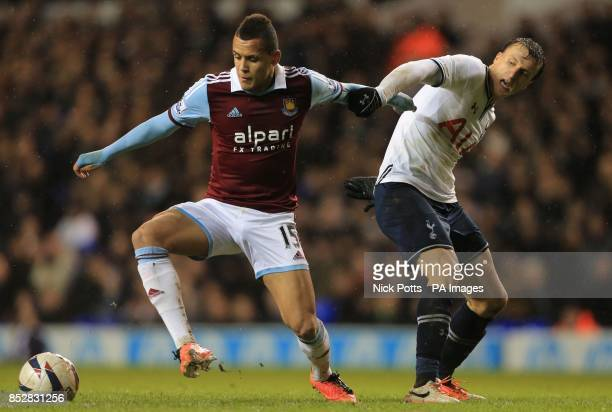 West Ham United's Ravel Morrison gets away from Tottenham Hotspur's Vlad Chiriches during the Capital One Cup match at White Hart Lane London