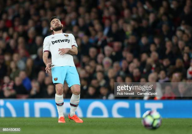 West Ham United's Robert Snodgrass during the Premier League match between Arsenal and West Ham United at Emirates Stadium on April 5 2017 in London...