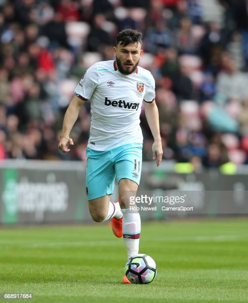 West Ham United's Robert Snodgrass during the Premier League match between Sunderland and West Ham United at Stadium of Light on April 15 2017 in...