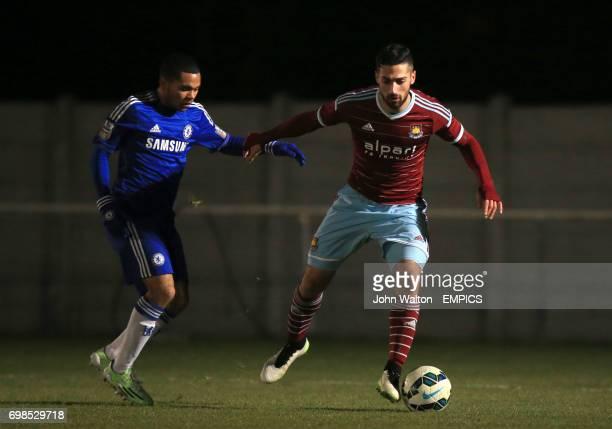 West Ham United's Sebastian Lletget battle for the ball with Chelsea's Jay Dasilva