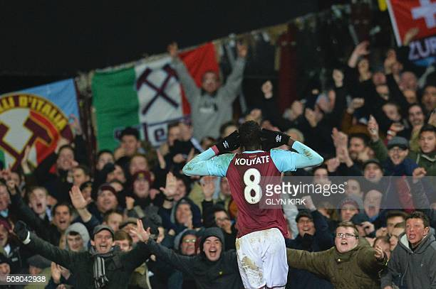 West Ham United's Senegalese midfielder Cheikhou Kouyate celebrates scoring their second goal during the English Premier League football match...