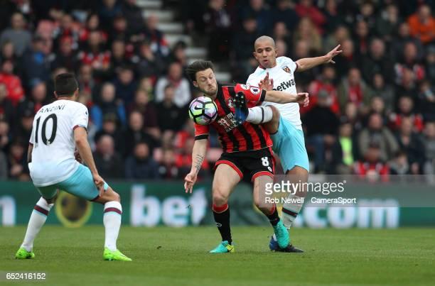 West Ham United's Sofiane Feghouli and Bournemouth's Harry Arter the Premier League match between AFC Bournemouth and West Ham United at Vitality...