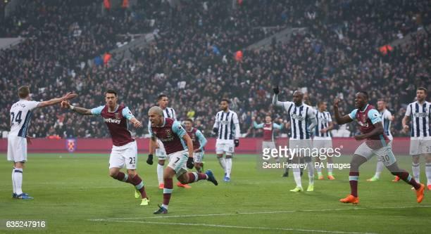 West Ham United's Sofiane Feghouli celebrates before his goal is disallowed
