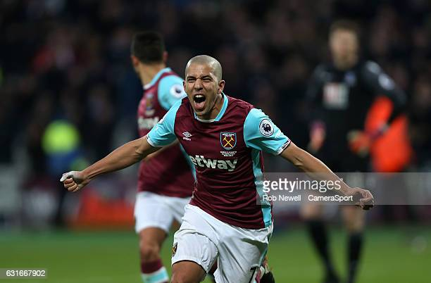 West Ham United's Sofiane Feghouli celebrates scoring his sides first goal during the Premier League match between West Ham United and Crystal Palace...