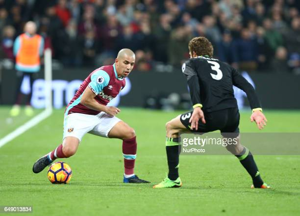 West Ham United's Sofiane Feghouli during EPL Premier League match between West Ham United against Chelsea at The London Stadium Queen Elizabeth II...