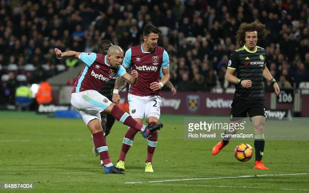 West Ham United's Sofiane Feghouli goes close in the second half during the Premier League match between West Ham United and Chelsea at London...