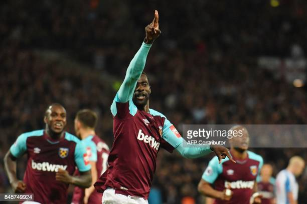 West Ham United's Spanish midfielder Pedro Obiang celebrates after scoring during the English Premier League football match between West Ham United...