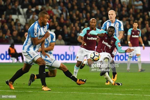 West Ham United's Spanish midfielder Pedro Obiang shoots and scores during the English Premier League football match between West Ham United and...
