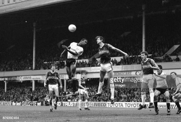 West Ham United's Steve Walford heads clear from Manchester United's Garth Crooks watched by teammates Ray Stewart Steve Whitton and Dave...