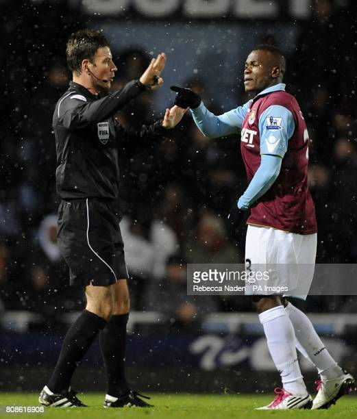 West Ham United's Victor Obinna complains after he has a goal ruled out by referee Mark Clattenburg