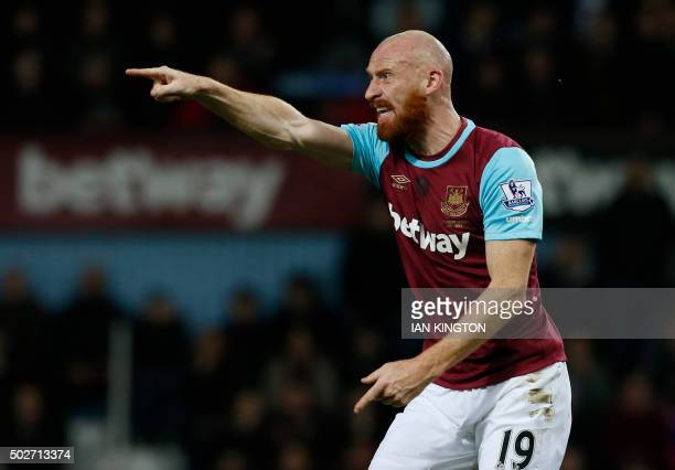 West Ham United's Welsh defender James Collins gestures during the English Premier League football match between West Ham United and Southampton at...