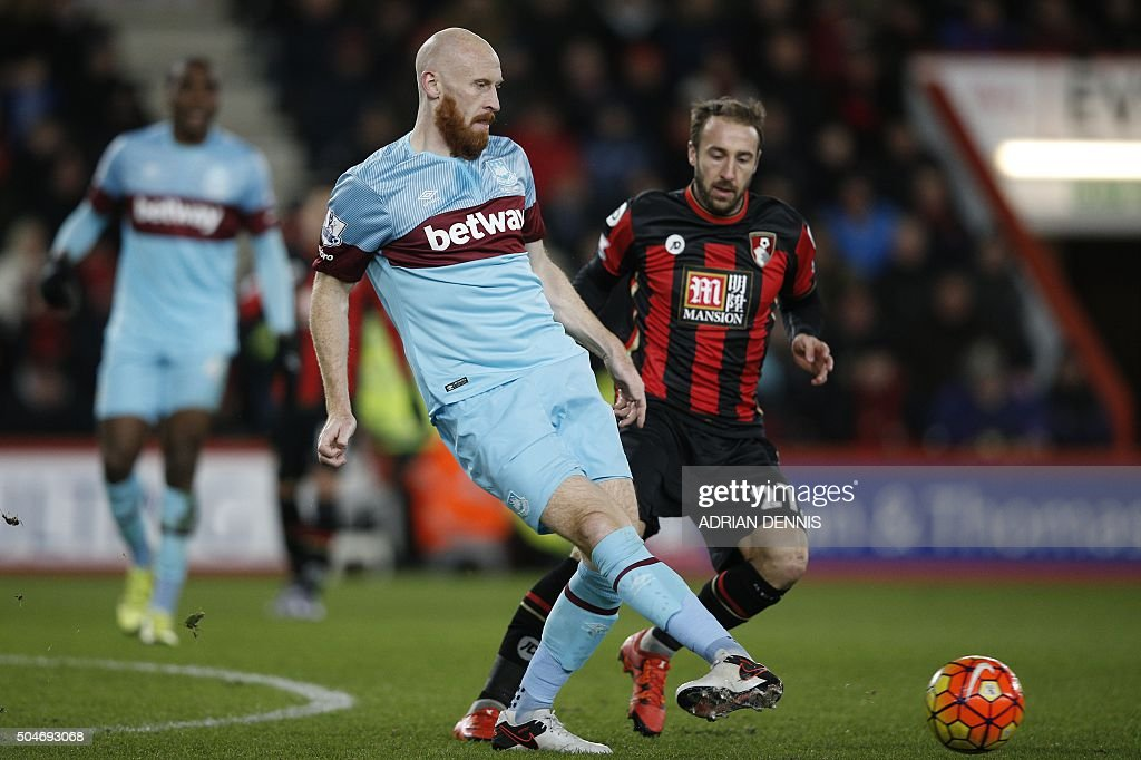 West Ham United's Welsh defender James Collins passes the ball during the English Premier League football match between Bournemouth and West Ham United at the Vitality Stadium in Bournemouth, southern England on January 12, 2016. AFP PHOTO / ADRIAN DENNIS USE. No use with unauthorized audio, video, data, fixture lists, club/league logos or 'live' services. Online in-match use limited to 75 images, no video emulation. No use in betting, games or single club/league/player publications. / AFP / ADRIAN