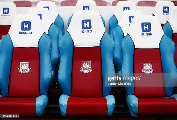 West Ham Untied bench is seen prior to the Barclays Premier League match between West Ham United and Chelsea at Boleyn Ground on October 24 2015 in...