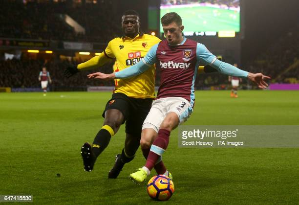 West Ham's Aaron Cresswell and Watford's M'Baye Niang during the Premier League match at Vicarage Road Watford