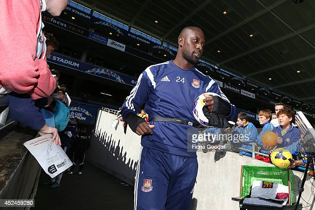 West Ham's Carlton Cole in action during a West Ham United training session at North Harbour Stadium on July 21 2014 in Auckland New Zealand