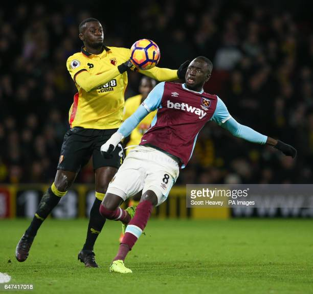 West Ham's Cheikhou Kouyate and Watford's M'Baye Niang during the Premier League match at Vicarage Road Watford