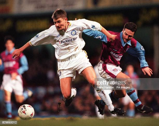 West Ham's Michael Hughes is beaten to the ball by Leed's Mark Jackson during tonight's FA Carling Premiership match at Upton Park Photo by Fiona...