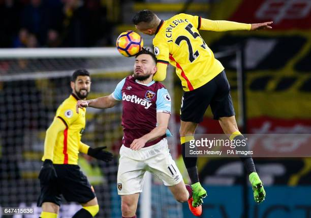 West Ham's Robert Snodgrass and Watford'sJose Holebas during the Premier League match at Vicarage Road Watford