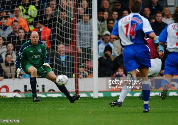 West Ham's Trevor Sinclair scores 1st goal for West Ham against visitors Blackburn during their FA Barclaycard Premiership match at West Ham's Upton...