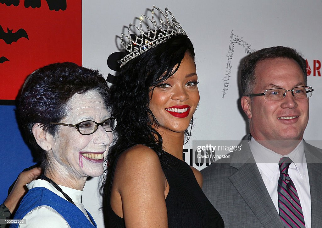 West Hollywood Mayor Pro Tempore Abbe Land, recording artist <a gi-track='captionPersonalityLinkClicked' href=/galleries/search?phrase=Rihanna&family=editorial&specificpeople=453439 ng-click='$event.stopPropagation()'>Rihanna</a> and West Hollywood Mayor Jeffrey Prang attend <a gi-track='captionPersonalityLinkClicked' href=/galleries/search?phrase=Rihanna&family=editorial&specificpeople=453439 ng-click='$event.stopPropagation()'>Rihanna</a>'s naming as the Queen of the West Hollywood Halloween Carnaval by the City of West Hollywood in celebration of Halloween 2012 at Greystone Manor Supperclub on October 31, 2012 in West Hollywood, California.
