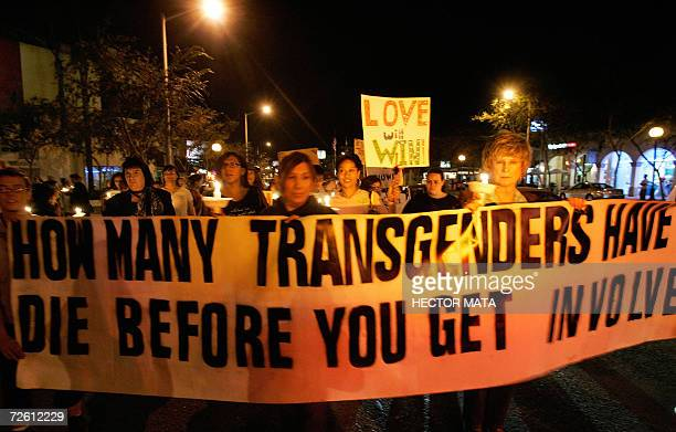 Members of the Gay Lesbian and Transgender community demonstrate during the 'Transgender Day of Remembrance' in West Hollywood CA 20 November 2006...