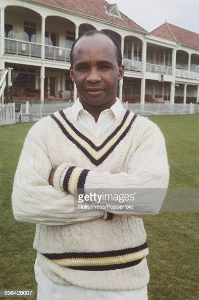 West Indian born cricketer and player for Hampshire County Cricket Club Danny Livingstone posed in front of the main stand and club house at the...