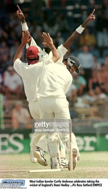 West Indian bowler Curtly Ambrose celebrates taking the wicket of England's Dean Headley