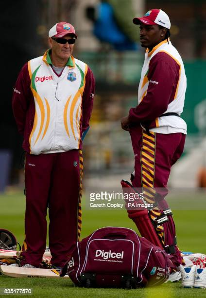 West Indian captain Chris Gayle and coach John Dyson during the nets session at the Headingley Carnegie Cricket Ground Leeds