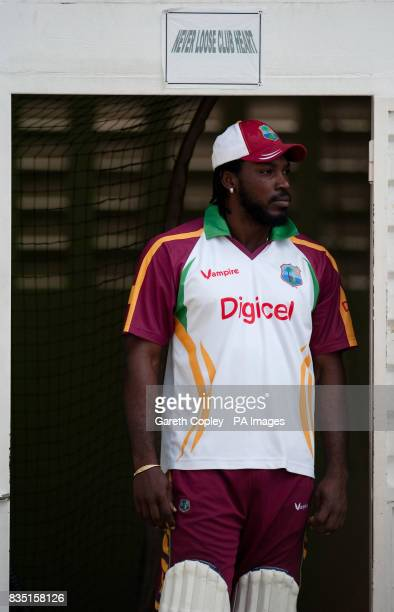 West Indian captain Chris Gayle during a nets session at St Marys Sports Ground Port of Spain Trinidad