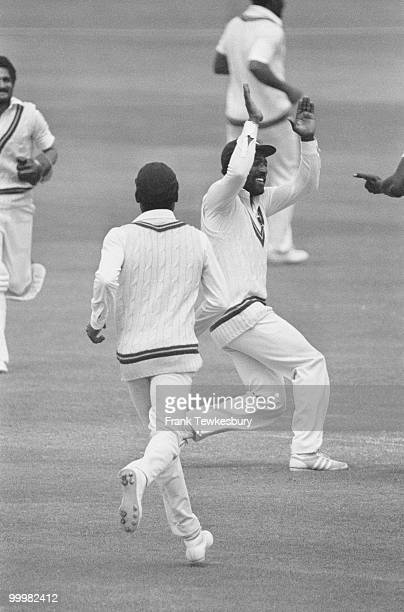 West Indian cricket captain Viv Richards celebrates the dismissal of England's Ian Botham at the Wisden Trophy 4th Test at The Oval London 29th July...