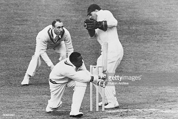 West Indian cricketer Learie Constantine batting against Middlesex