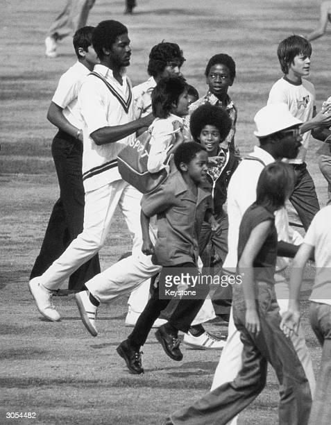 West Indian cricketer Michael Holding after taking 8 for 92 against England at the Oval 16th August 1976