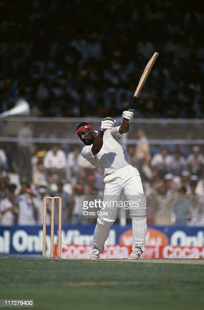 West Indian cricketer Viv Richards batting against Pakistan in the Cricket World Cup at the National Stadium Karachi Pakistan October 1987