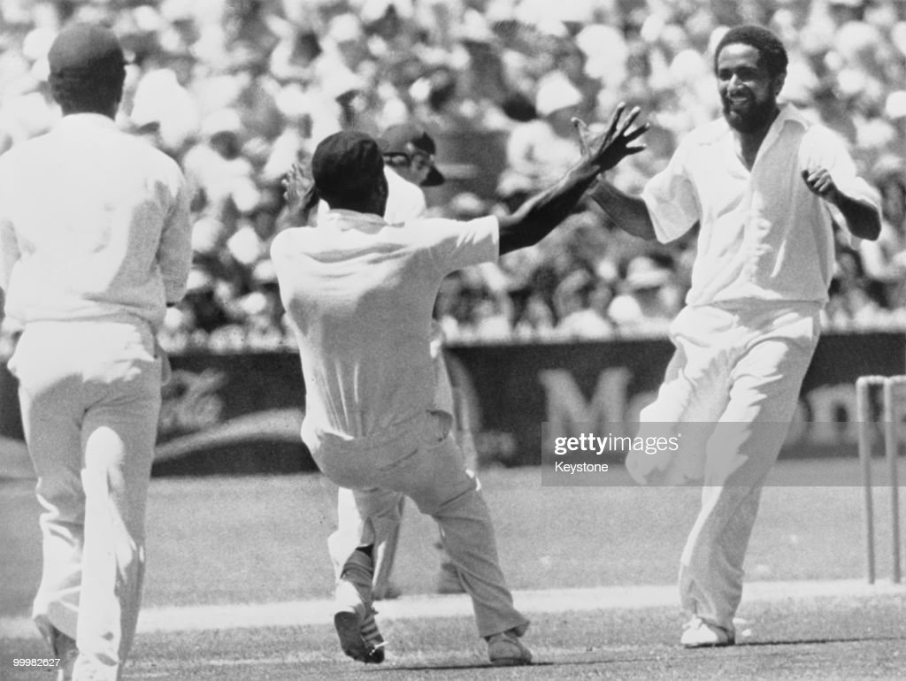 West Indian cricketer <a gi-track='captionPersonalityLinkClicked' href=/galleries/search?phrase=Viv+Richards&family=editorial&specificpeople=622151 ng-click='$event.stopPropagation()'>Viv Richards</a> rushes towards Andy Roberts after he had bowled out Australia's Greg Chapell for no score, during the third day of the Final test at Adelaide, Australia, 28th January 1980.