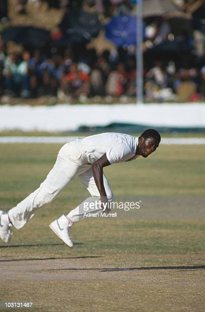 West Indian fast bowler Joel Garner in action against England during the 1st Test at Sabina Park Kingston Jamaica 21st 23rd February 1986