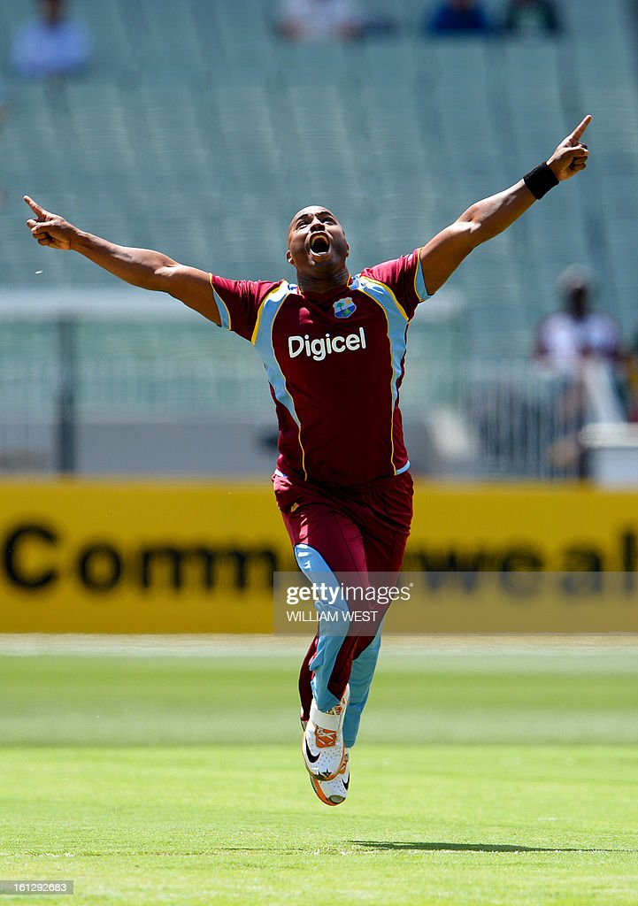 West Indian paceman Tino Best celebrates dismissing Australian batsman Shane Watson first ball in their one-day cricket international played at the Melbourne Cricket Ground (MCG), on February 10, 2013. AFP PHOTO/William WEST IMAGE RESTRICTED TO EDITORIAL USE - STRICTLY NO COMMERCIAL USE