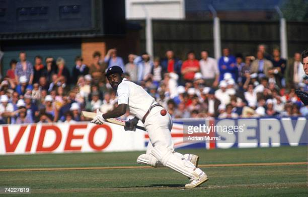 West Indies and Somerset batsman Viv Richards in action against Warwickshire at Taunton in a John Player League match September 1981