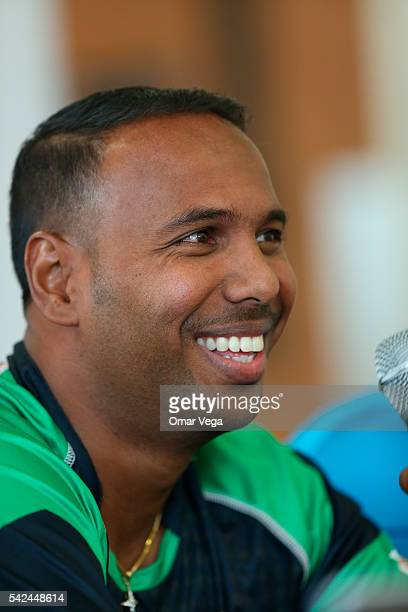West Indies and St Kitts Nevis Patriots Samuel Badree during a press conference for the official USA launch of the 2016 CPL campaign in the main...