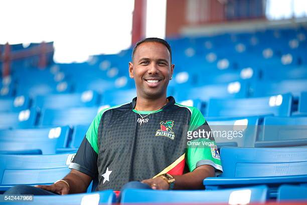 West Indies and St Kitts Nevis Patriots Samuel Badree poses after a press conference for the official USA launch of the 2016 CPL campaign in the main...