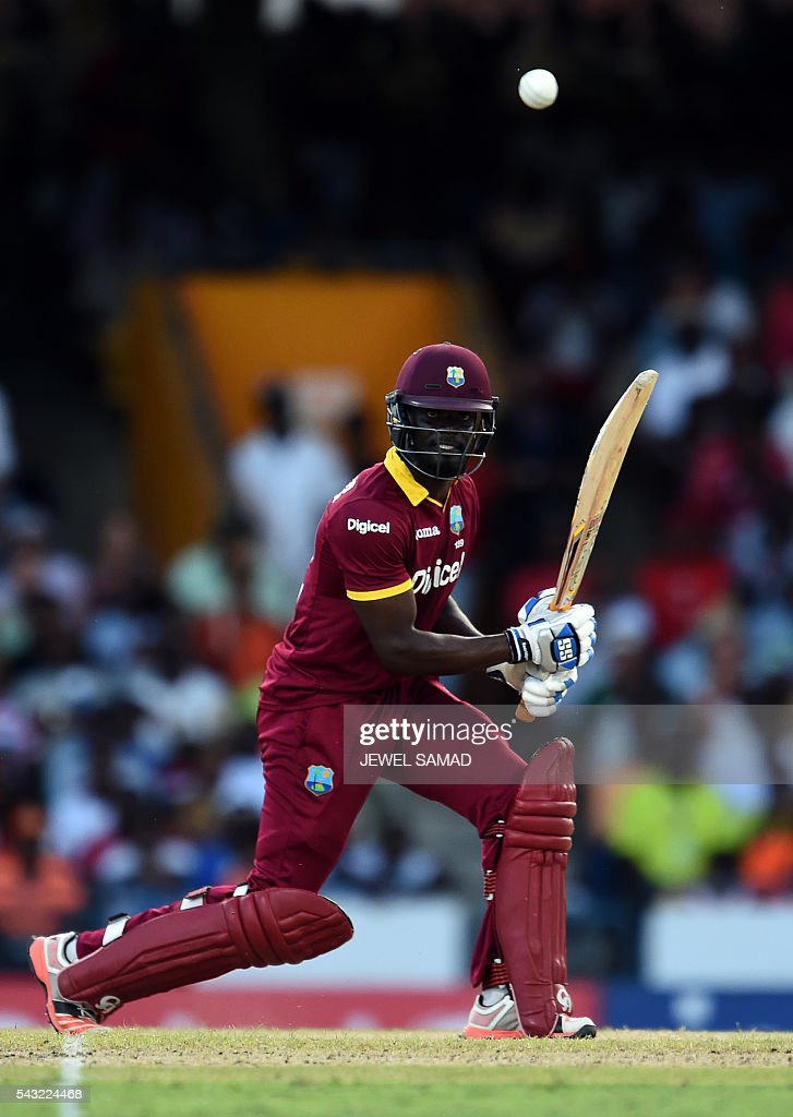 West Indies batsman Andre Fletcher plays a shot during the final match of the Tri-nation Series between Australia and West Indies in Bridgetown on June 26, 2016. / AFP / Jewel SAMAD