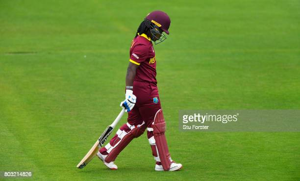 West Indies batsman Deandra Dottin trudges off having being dismissed for just 7 off 48 balls on her 100th match during the ICC Women's World Cup...