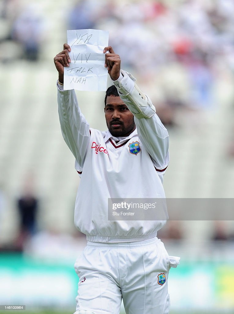 West Indies batsman <a gi-track='captionPersonalityLinkClicked' href=/galleries/search?phrase=Denesh+Ramdin&family=editorial&specificpeople=542842 ng-click='$event.stopPropagation()'>Denesh Ramdin</a> celebrates his century during day four of the 3rd Investec Test match between England and West Indies at Edgbaston on June 10, 2012 in Birmingham, England.