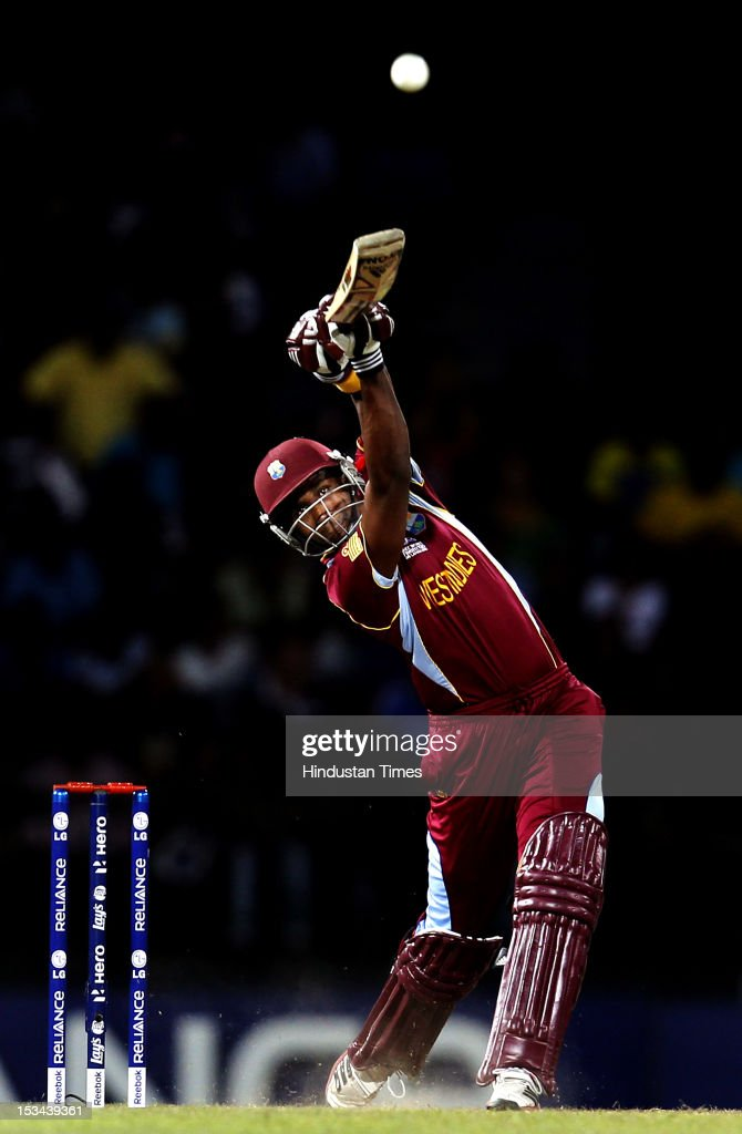 West Indies batsman <a gi-track='captionPersonalityLinkClicked' href=/galleries/search?phrase=Dwayne+Bravo&family=editorial&specificpeople=178945 ng-click='$event.stopPropagation()'>Dwayne Bravo</a> bats during the ICC T20 World Cup cricket semi final match between Australia and West Indies at R. Premadasa Stadium on October 5, 2012 in Colombo, Sri Lanka.